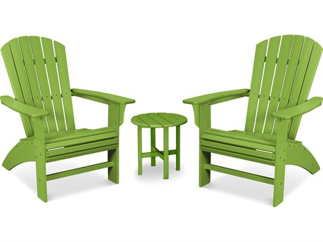 Trex Outdoor Furniture Yacht Club 3-Piece Curveback Adirondack Set in Lime