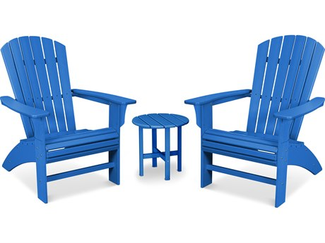 Trex Outdoor Furniture Yacht Club 3-Piece Curveback Adirondack Set in Pacific Blue PatioLiving
