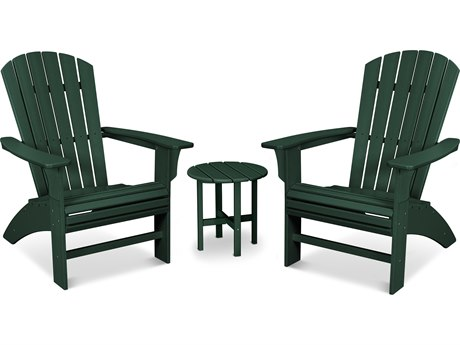 Trex Outdoor Furniture Yacht Club 3-Piece Curveback Adirondack Set in Rainforest Canopy