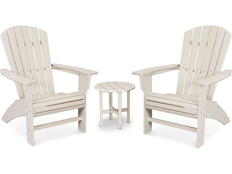 Trex Outdoor Furniture Yacht Club 3-Piece Curveback Adirondack Set in Sand Castle