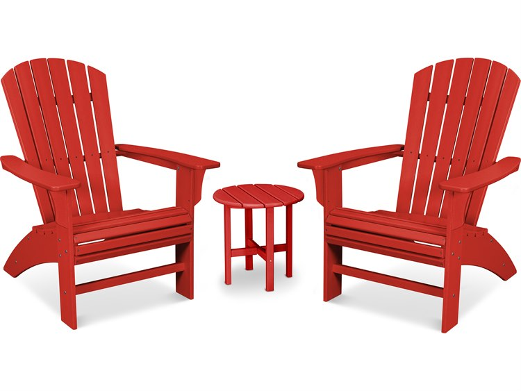 Trex Outdoor Furniture Yacht Club 3-Piece Curveback Adirondack Set in Sunset Red PatioLiving