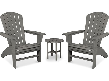 Trex Outdoor Furniture Yacht Club 3-Piece Curveback Adirondack Set in Stepping Stone