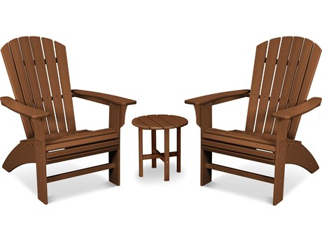 Trex Outdoor Furniture Yacht Club 3-Piece Curveback Adirondack Set in Tree House
