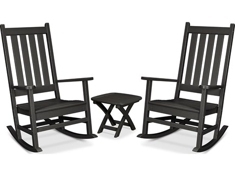 Trex Outdoor Furniture Cape Cod 3-Piece Porch Rocking Chair Set in Charcoal Black