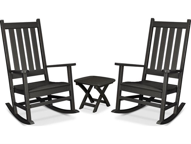 Trex Outdoor Furniture Cape Cod 3-Piece Porch Rocking Chair Set in Charcoal Black PatioLiving
