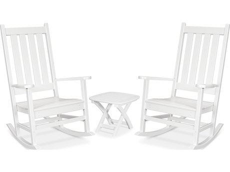 Trex Outdoor Furniture Cape Cod 3-Piece Porch Rocking Chair Set in Classic White
