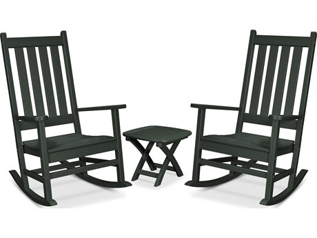 Trex Outdoor Furniture Cape Cod 3-Piece Porch Rocking Chair Set in Rainforest Canopy PatioLiving