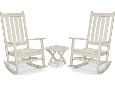 Trex Outdoor Furniture Cape Cod 3-Piece Porch Rocking Chair Set in Sand Castle
