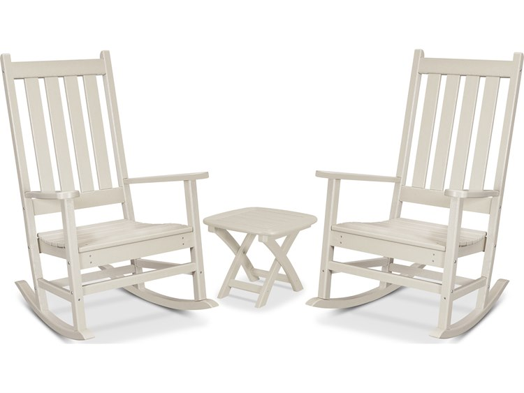 Trex Outdoor Furniture Cape Cod 3-Piece Porch Rocking Chair Set in Sand Castle PatioLiving