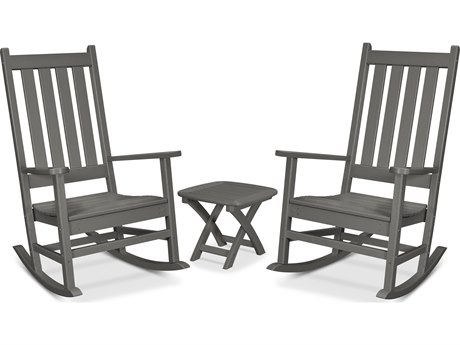 Trex Outdoor Furniture Cape Cod 3-Piece Porch Rocking Chair Set in Stepping Stone