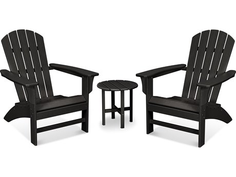 Trex Outdoor Furniture Yacht Club 3-Piece Adirondack Set in Charcoal Black