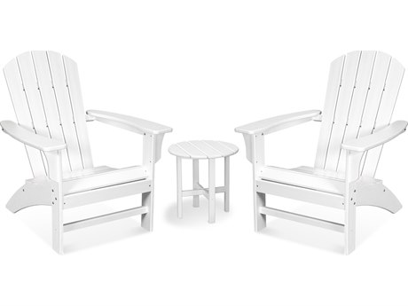 Trex Outdoor Furniture Yacht Club 3-Piece Adirondack Set in Classic White