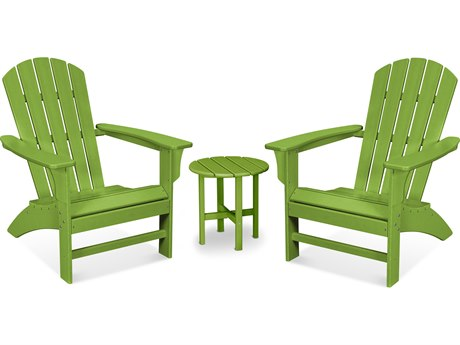 Trex Outdoor Furniture Yacht Club 3-Piece Adirondack Set in Lime
