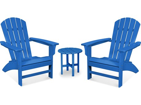 Trex Outdoor Furniture Yacht Club 3-Piece Adirondack Set in Pacific Blue
