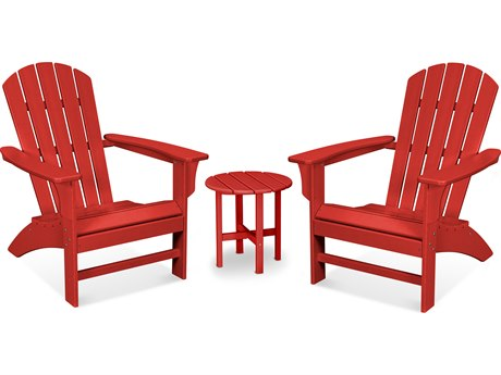 Trex Outdoor Furniture Yacht Club 3-Piece Adirondack Set in Sunset Red