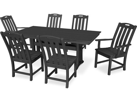 Trex Outdoor Furniture Yacht Club 7-Piece Farmhouse Dining Set in Charcoal Black