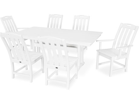 Trex Outdoor Furniture Yacht Club 7-Piece Farmhouse Dining Set in Classic White