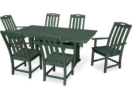 Trex Outdoor Furniture Yacht Club 7-Piece Farmhouse Dining Set in Rainforest Canopy