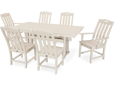Trex Outdoor Furniture Yacht Club 7-Piece Farmhouse Dining Set in Sand Castle