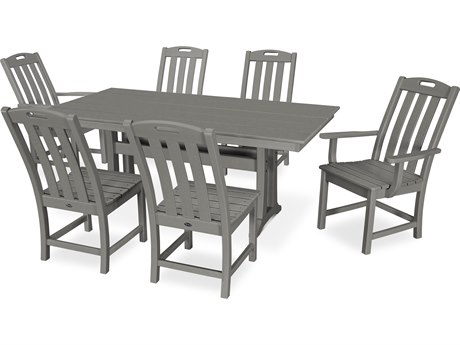 Trex Outdoor Furniture Yacht Club 7-Piece Farmhouse Dining Set in Stepping Stone