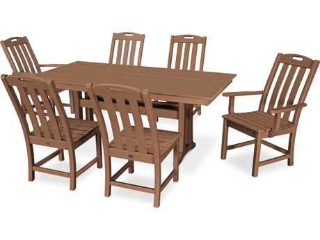 Trex Outdoor Furniture Yacht Club 7-Piece Farmhouse Dining Set in Tree House PatioLiving