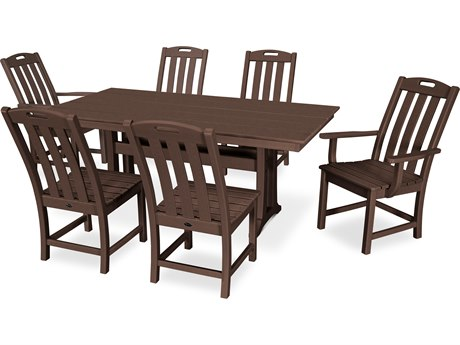 Trex Outdoor Furniture Yacht Club 7-Piece Farmhouse Dining Set in Vintage Lantern