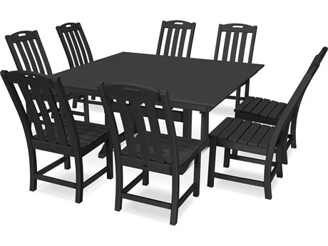 Trex Outdoor Furniture Yacht Club 9-Piece Farmhouse Dining Set in Charcoal Black