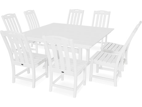Trex Outdoor Furniture Yacht Club 9-Piece Farmhouse Dining Set in Classic White