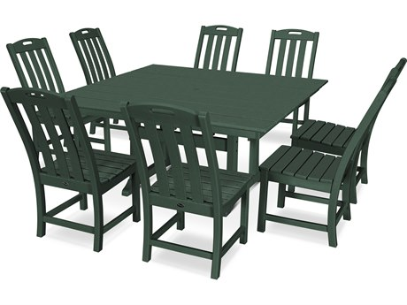 Trex Outdoor Furniture Yacht Club 9-Piece Farmhouse Dining Set in Rainforest Canopy