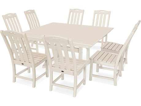 Trex Outdoor Furniture Yacht Club 9-Piece Farmhouse Dining Set in Sand Castle