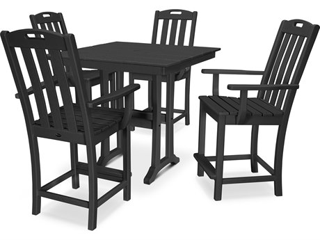 Trex Outdoor Furniture Yacht Club 5-Piece Farmhouse Counter Set in Charcoal Black