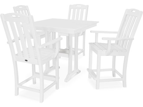 Trex Outdoor Furniture Yacht Club 5-Piece Farmhouse Counter Set in Classic White