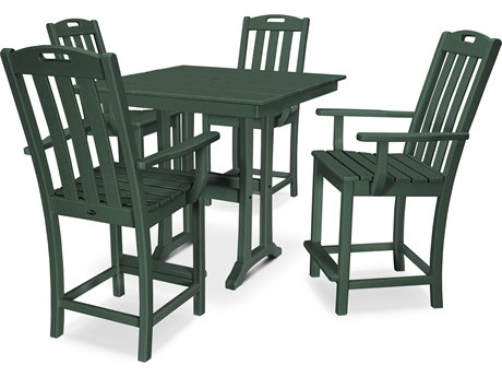 Trex Outdoor Furniture Yacht Club 5-Piece Farmhouse Counter Set in Rainforest Canopy