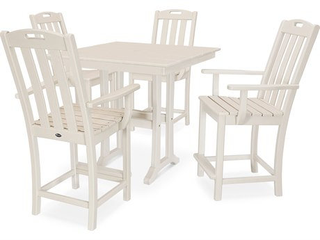 Trex Outdoor Furniture Yacht Club 5-Piece Farmhouse Counter Set in Sand Castle
