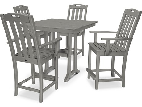 Trex Outdoor Furniture Yacht Club 5-Piece Farmhouse Counter Set in Stepping Stone