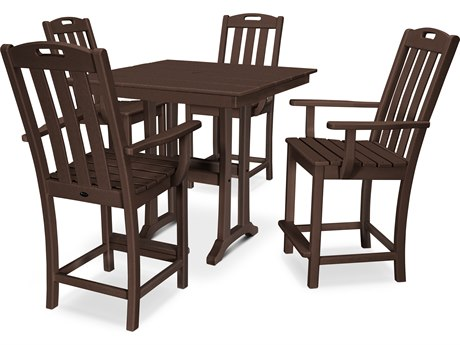 Trex Outdoor Furniture Yacht Club 5-Piece Farmhouse Counter Set in Vintage Lantern