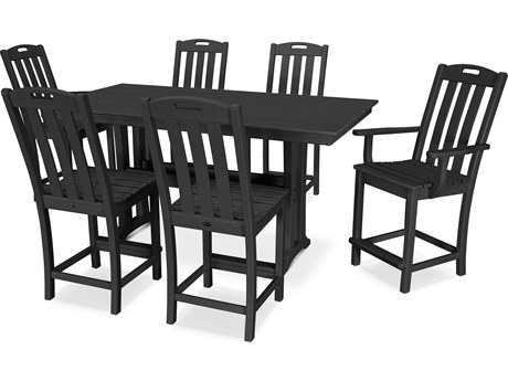 Trex® Outdoor Furniture™ Yacht Club Recycled Plastic 7 Piece Farmhouse Trestle Counter Set