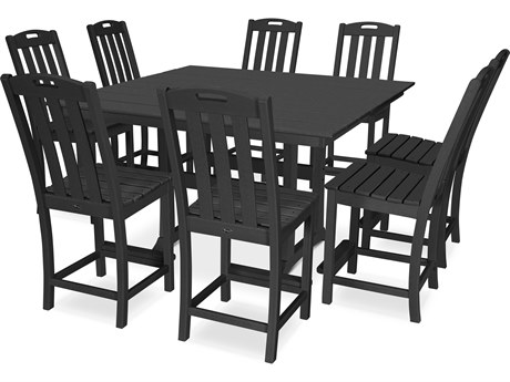 Trex® Outdoor Furniture™ Yacht Club Recycled Plastic 9 Piece Farmhouse Trestle Counter Set