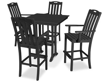 Trex Outdoor Furniture Yacht Club 5-Piece Farmhouse Bar Set in Charcoal Black