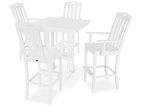 Trex Outdoor Furniture Yacht Club 5-Piece Farmhouse Bar Set in Classic White