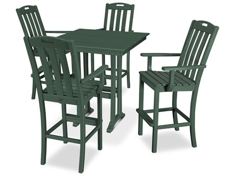 Trex Outdoor Furniture Yacht Club 5-Piece Farmhouse Bar Set in Rainforest Canopy