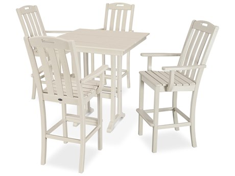 Trex Outdoor Furniture Yacht Club 5-Piece Farmhouse Bar Set in Sand Castle
