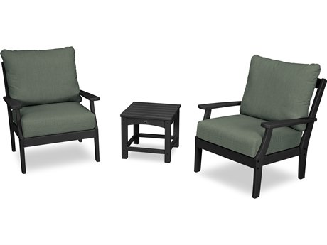 Trex Outdoor Furniture Yacht Club 3-Piece Deep Seating Set in Charcoal Black / Cast Sage