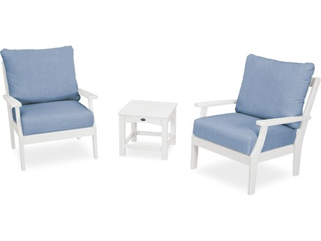 Trex Outdoor Furniture Yacht Club 3-Piece Deep Seating Set in Classic White / Cast Ocean