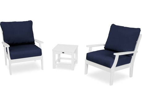 Trex Outdoor Furniture Yacht Club 3-Piece Deep Seating Set in Classic White / Navy