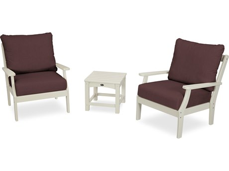 Trex Outdoor Furniture Yacht Club 3-Piece Deep Seating Set in Sand Castle / Cast Currant