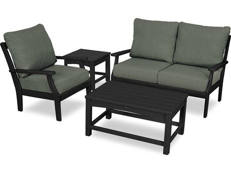 Trex Outdoor Furniture Yacht Club 4-Piece Deep Seating Set in Charcoal Black / Cast Sage