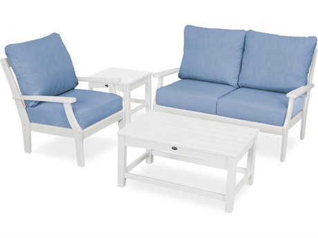 Trex Outdoor Furniture Yacht Club 4-Piece Deep Seating Set in Classic White / Cast Ocean