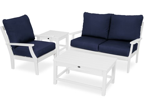 Trex Outdoor Furniture Yacht Club 4-Piece Deep Seating Set in Classic White / Navy