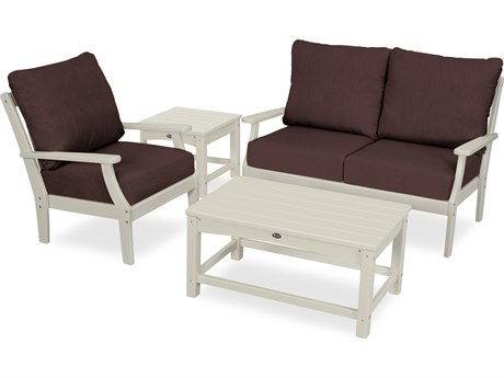 Trex Outdoor Furniture Yacht Club 4-Piece Deep Seating Set in Sand Castle / Cast Currant